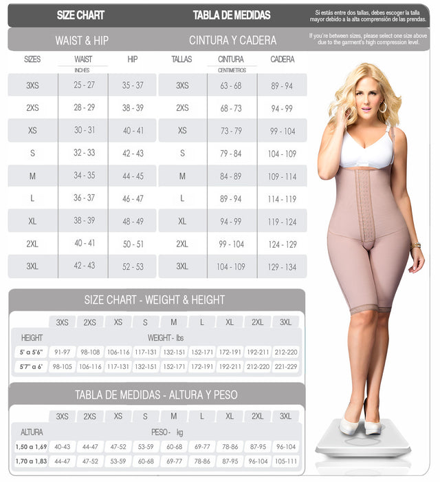Fajas Dprada 11103 | Firm Control Knee Length Body Shaper - Shapes Secrets