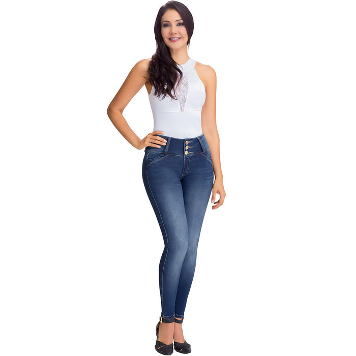 Lowla - JE219719 | High Waisted Tummy Control Skinny Jeans with Inner Girdle