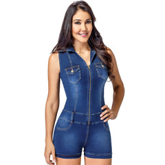 Lowla Shapewear 269255 | Denim Romper for Women with Inner Girdle