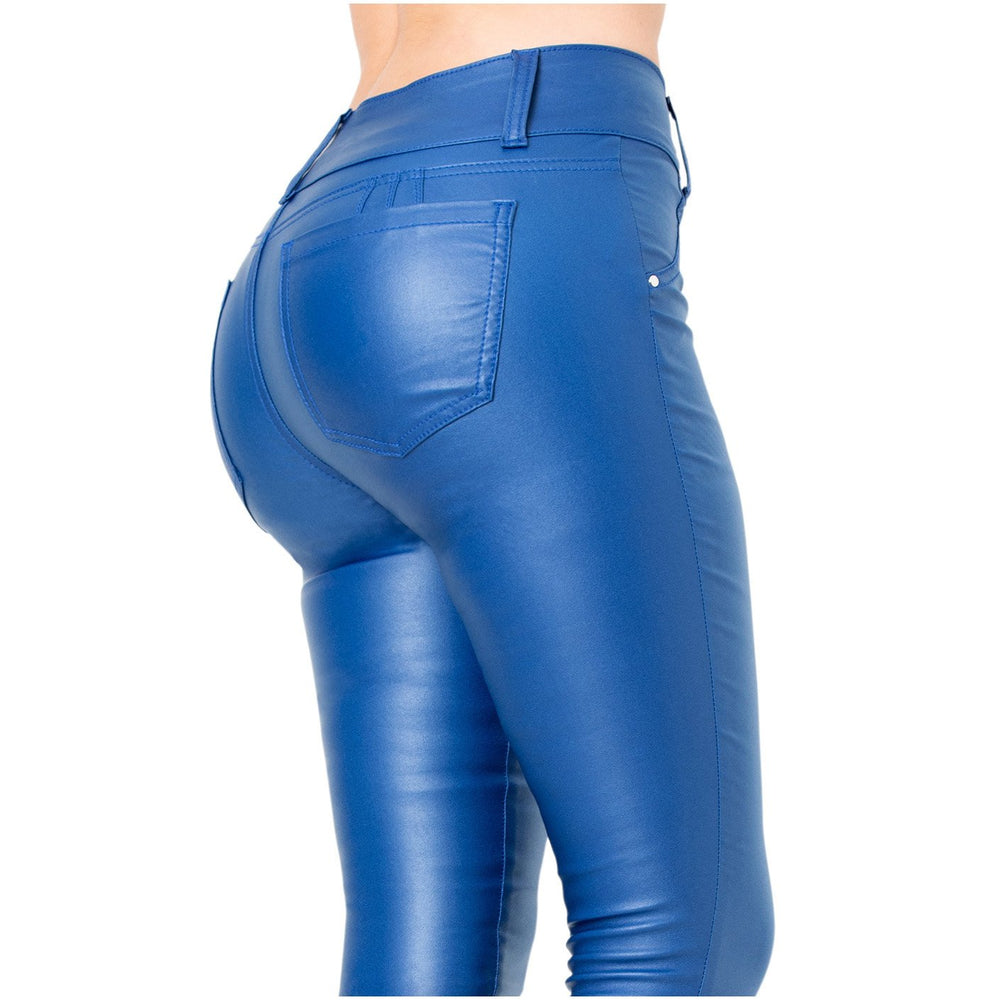 LOWLA CCS2B0719 | Faux Leather Mid Rise Jeans For Women