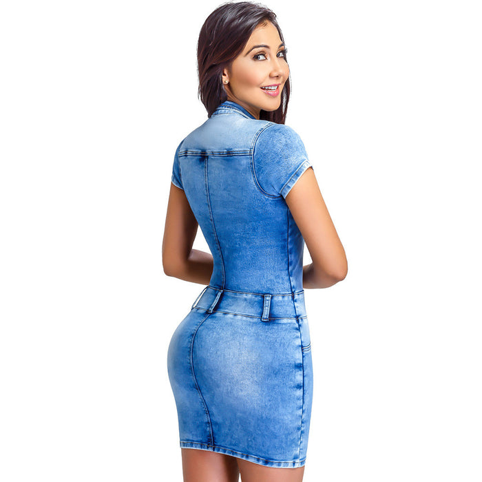 Lowla 299001 | Women Denim Dress with Inner Girdle