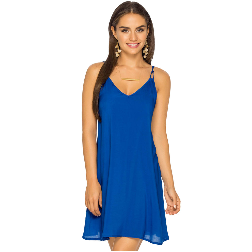 PHAX 16810003 V-Neck Spaghetti Straps Short Summer Dress