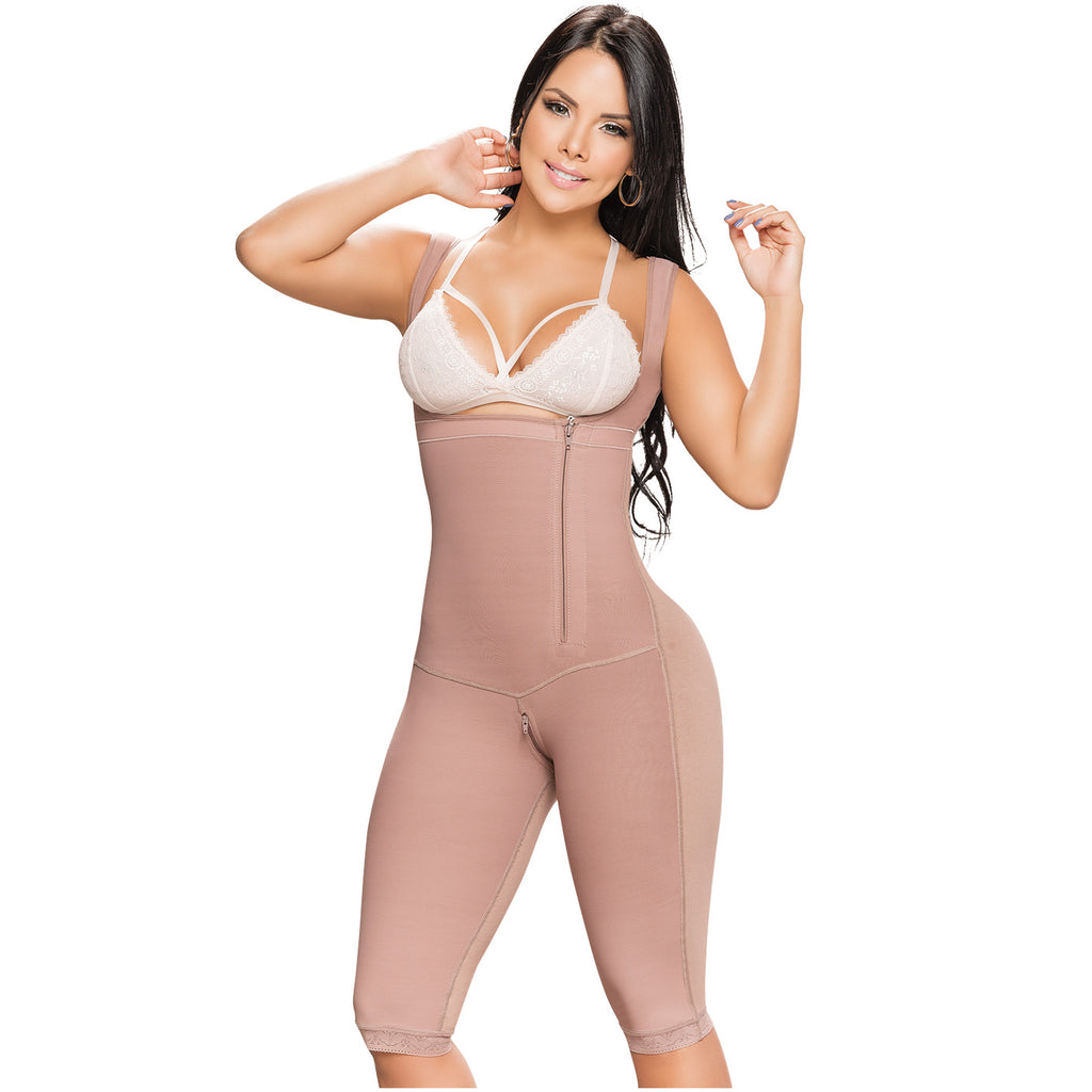 Fajas Salome 0544J | Colombian Knee Length Body Shaper | Postpartum and Post Surgery Use | Tummy Control
