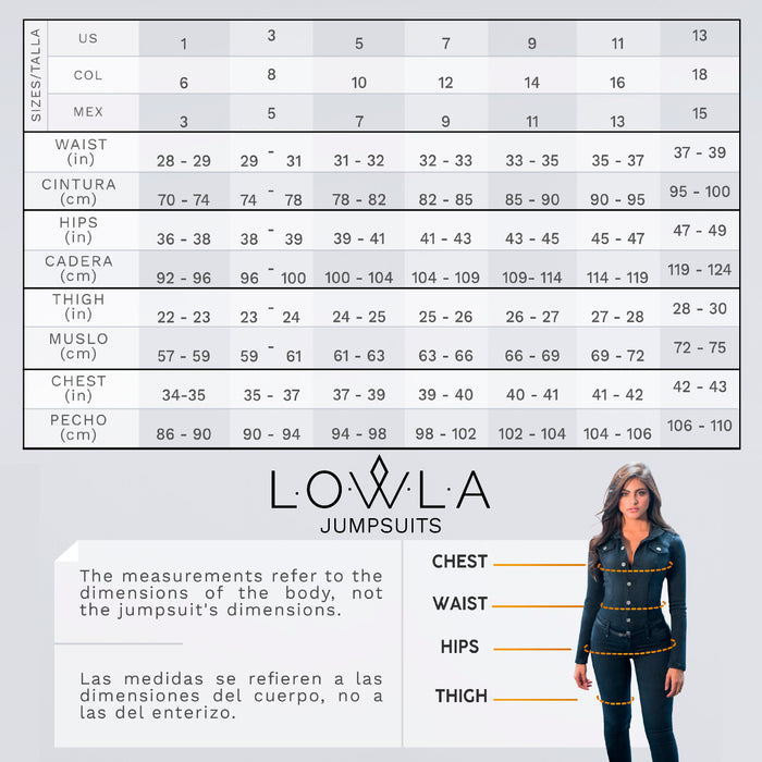 Lowla 268217 | Denim Compression Jumpsuit with Inner Girdle