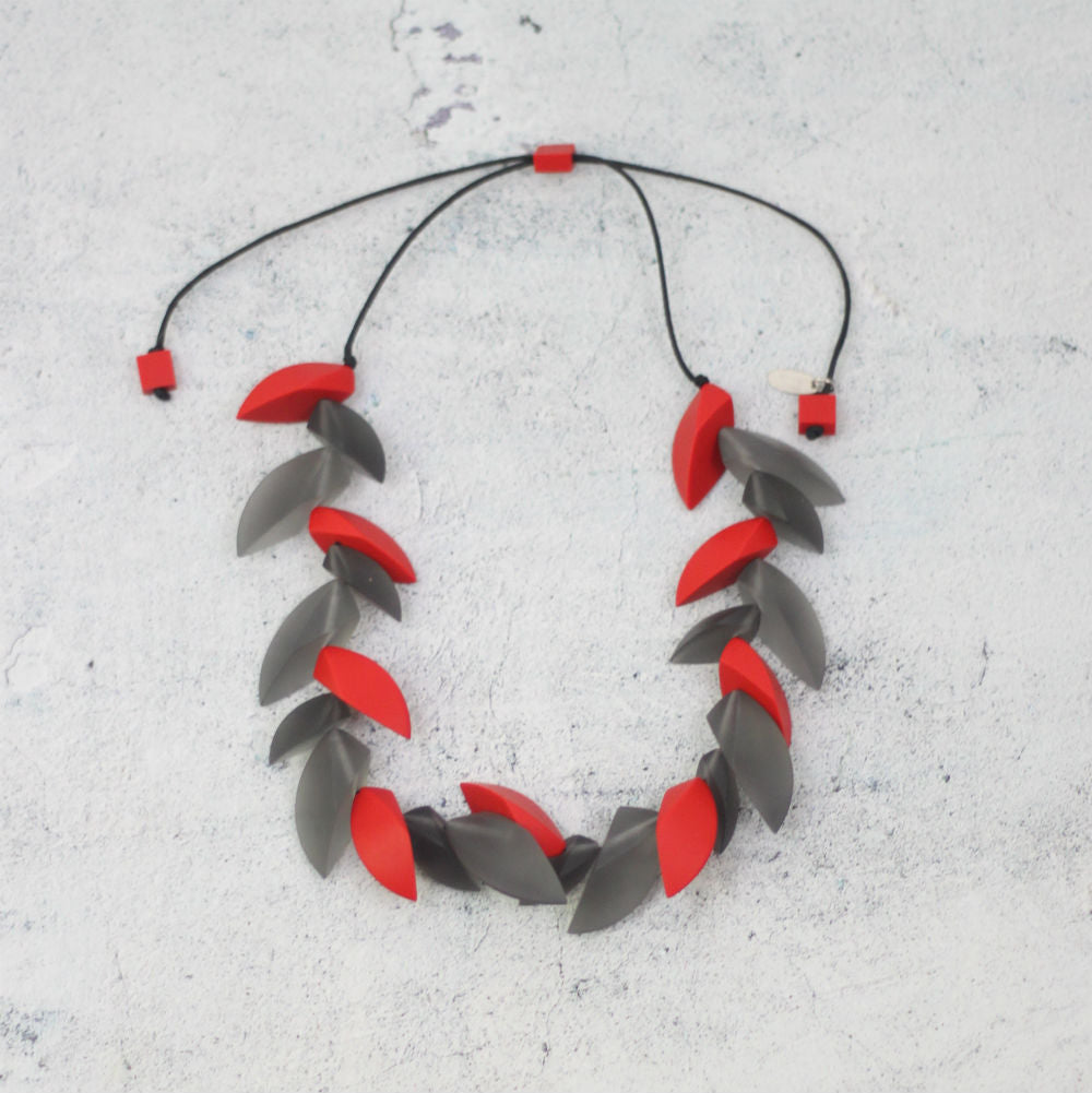 SY-Edgy Red and Grey Zara Necklace