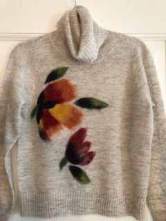 SN-Turtle neck Flower Embroidered Sweater