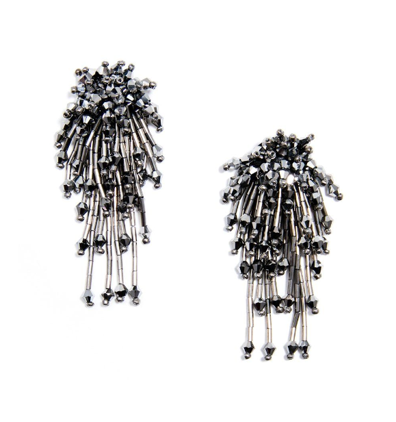 ZZ-E1688 Shiny Beaded Cluster Drop Earring
