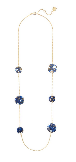 ZZ-N2338 Tortoise Circles Long Necklace