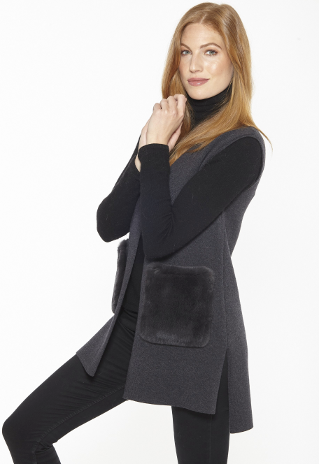 LR-KN932 Knit Vest with Rex Rabbit Pockets.