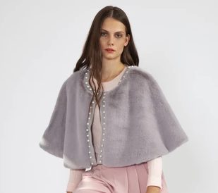 JL-FMCP23A Faux Fur Cape With Pearl Detail