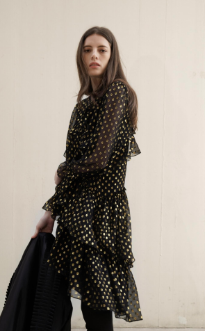 JI-GOLD DOT DRESS