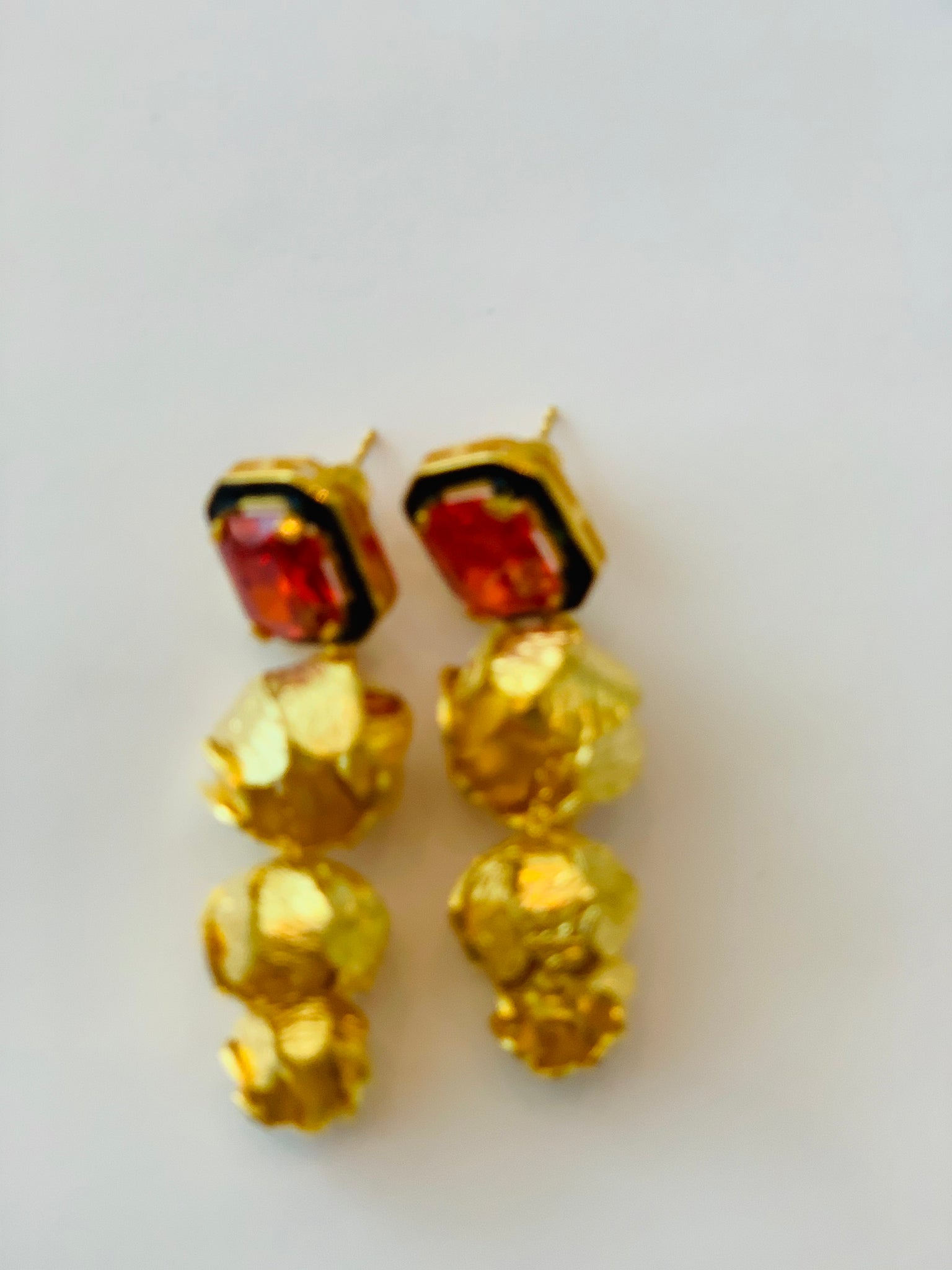 RE-Gold plated Silver Palm Earrings