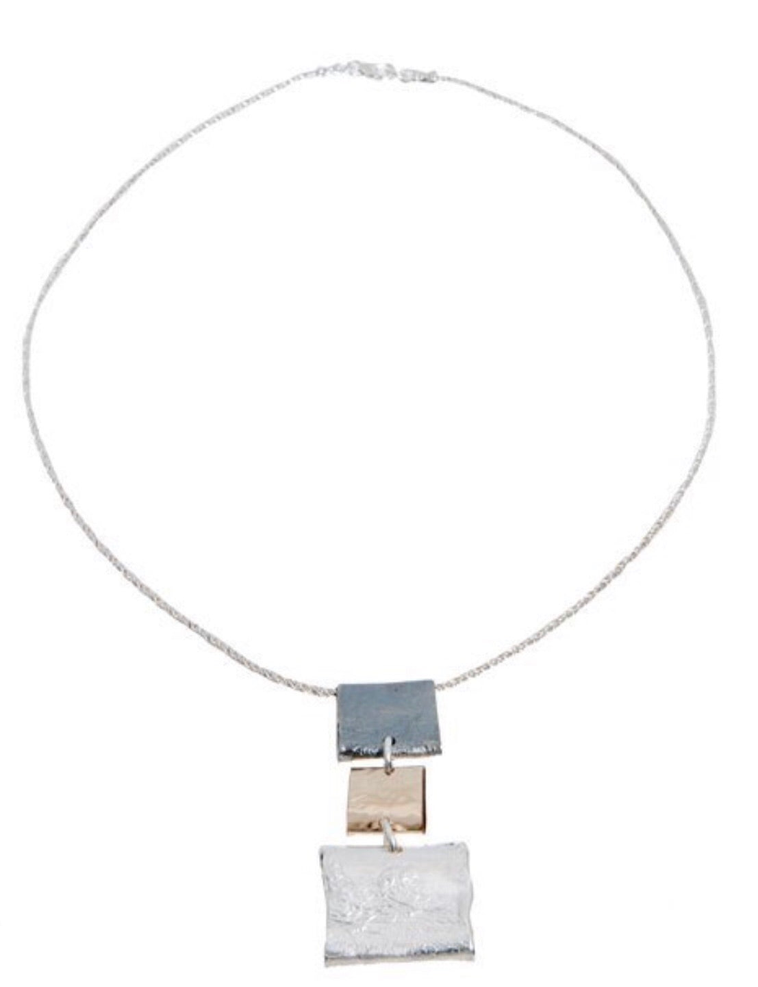 DH-N1746 Silver 3 drop Square necklace