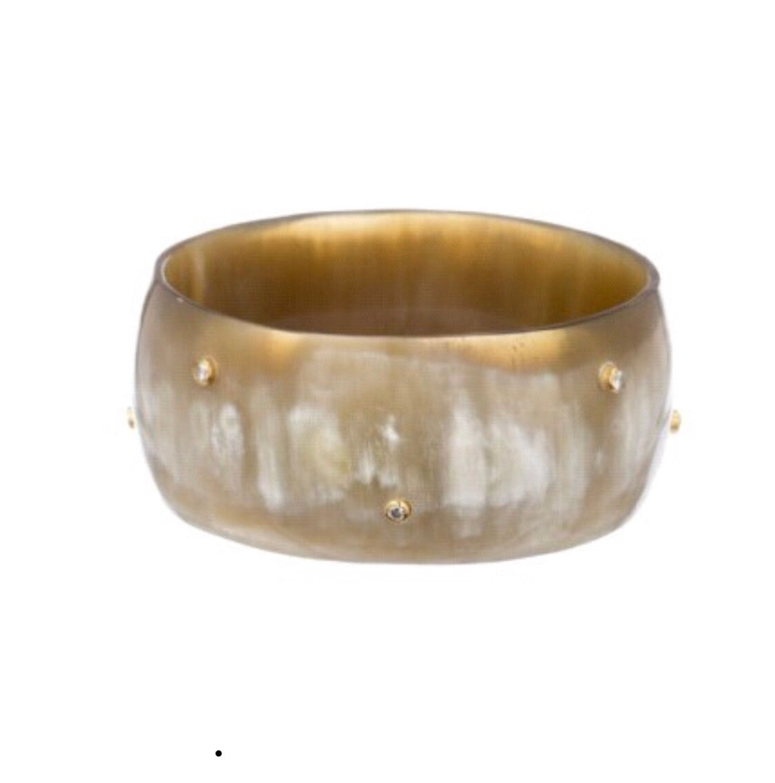 VV-Natural Buffalo Horn Bangle with  Scattered Crystals