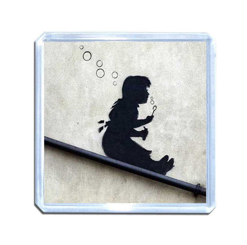 Banksy Bubble Slide Girl Magnet