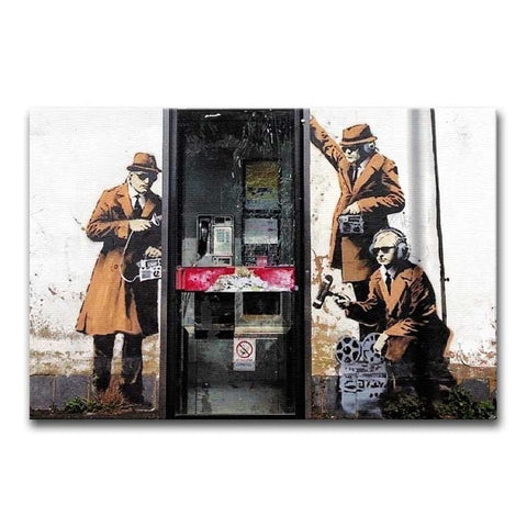 Banksy Cheltenham Telephone Box Spies Print