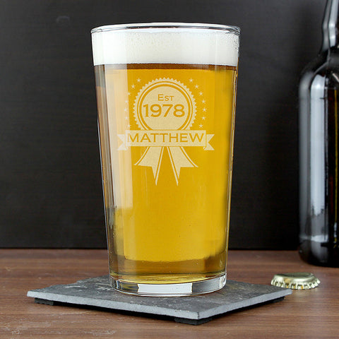 Personalised Established Rosette Pint Glass
