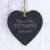 Personalised Just Married... Slate Heart