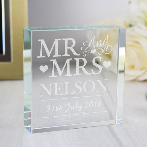 Personalised Mr & Mrs Large Glass Block