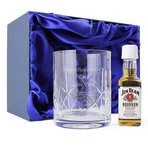 Personalised Crystal Glass & Bourbon Whisky Miniature Set