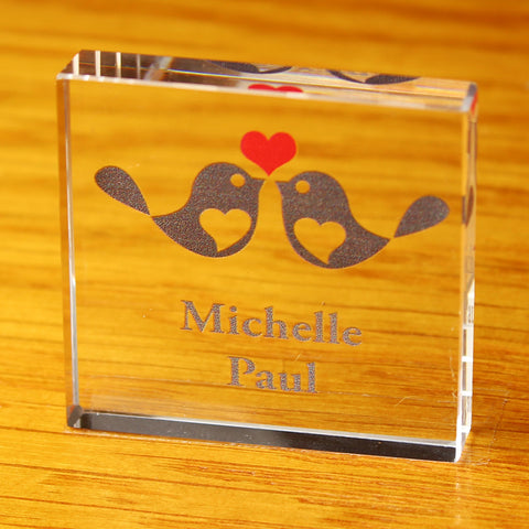 Personalised Love Birds Small Glass Block