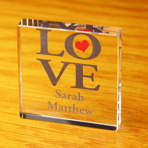 Personalised LOVE Small Glass Block