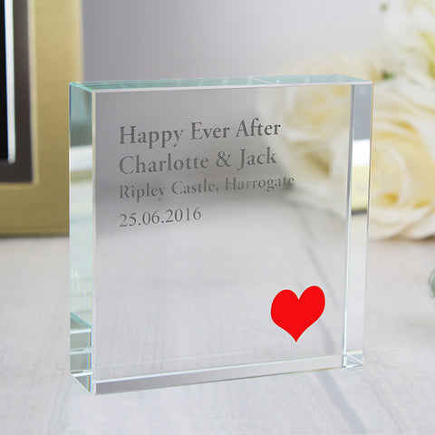 Personalised Red Heart Large Glass Block