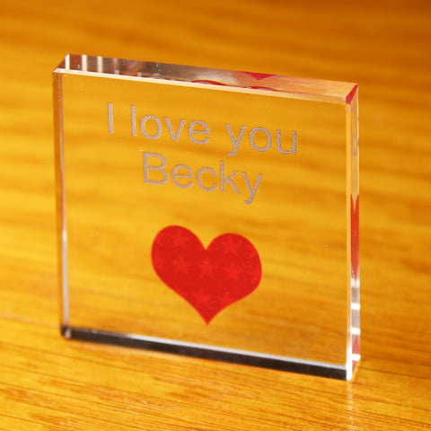 Personalised Heart Small Glass Block