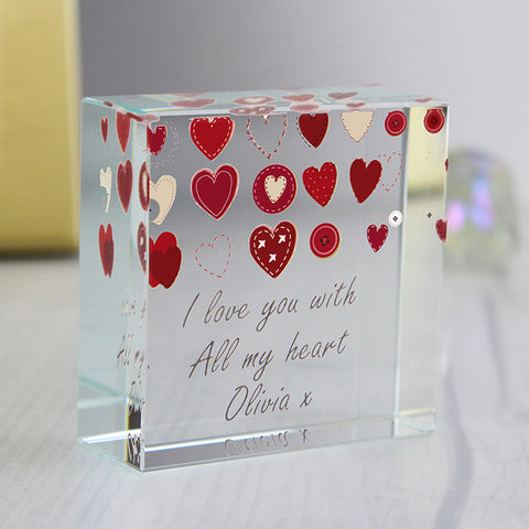 Personalised Fabric Hearts Design Medium Glass Block