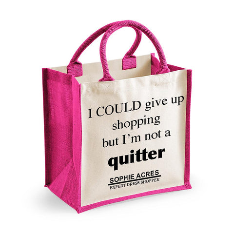 Personalised Quitter Midi Cotton Shopper Bag