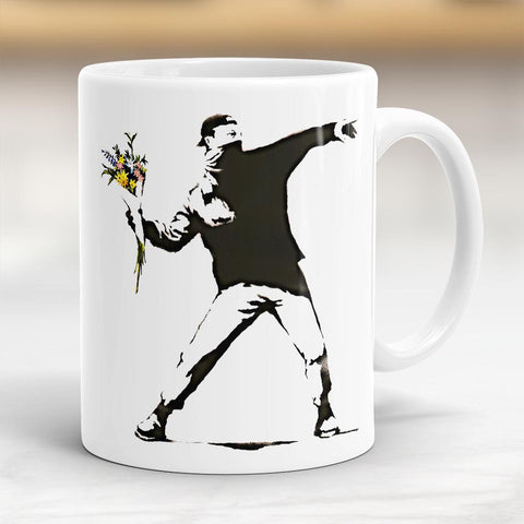 Banksy Flower Thrower Mug