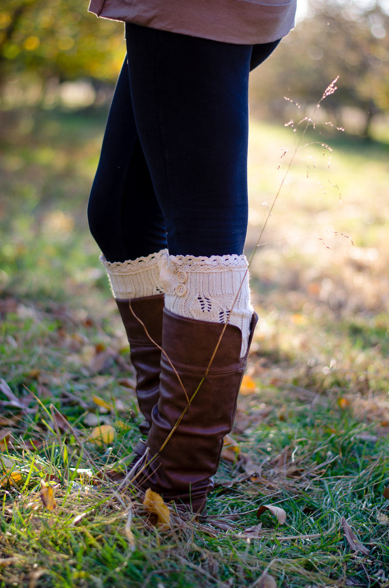 Cute and Cozy Leg Warmers - Cream