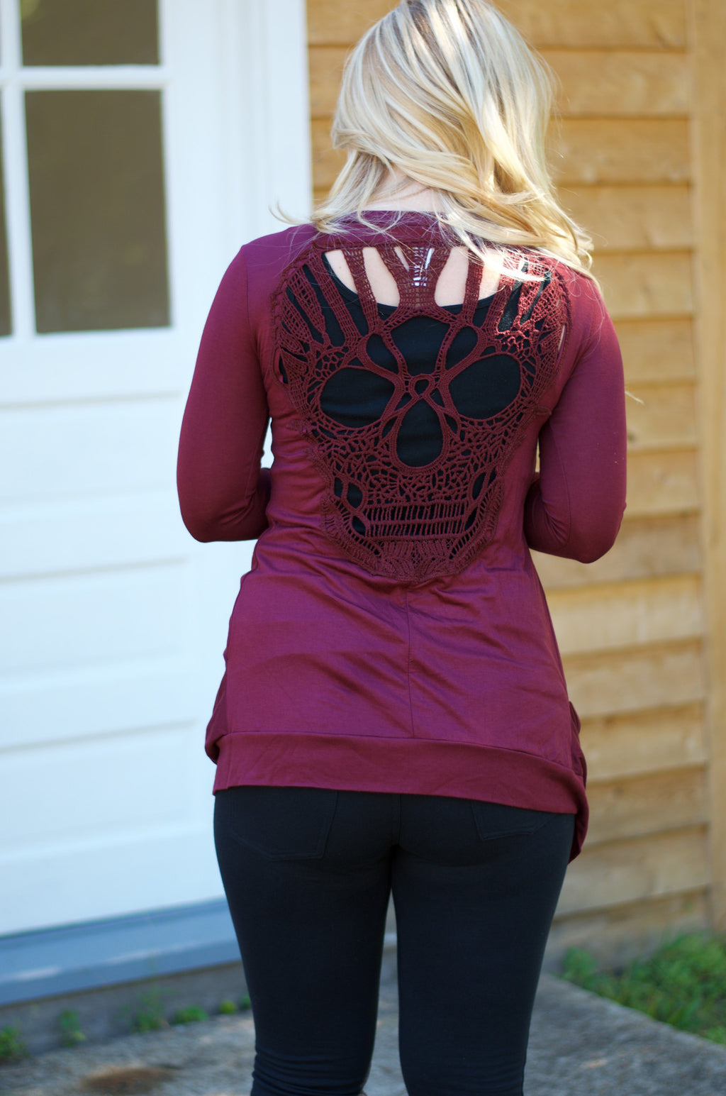 Skull You Later Cardigan- Burgundy