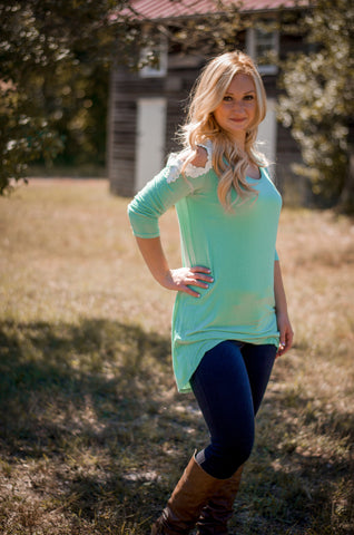 Cold Shoulder Top- Mint