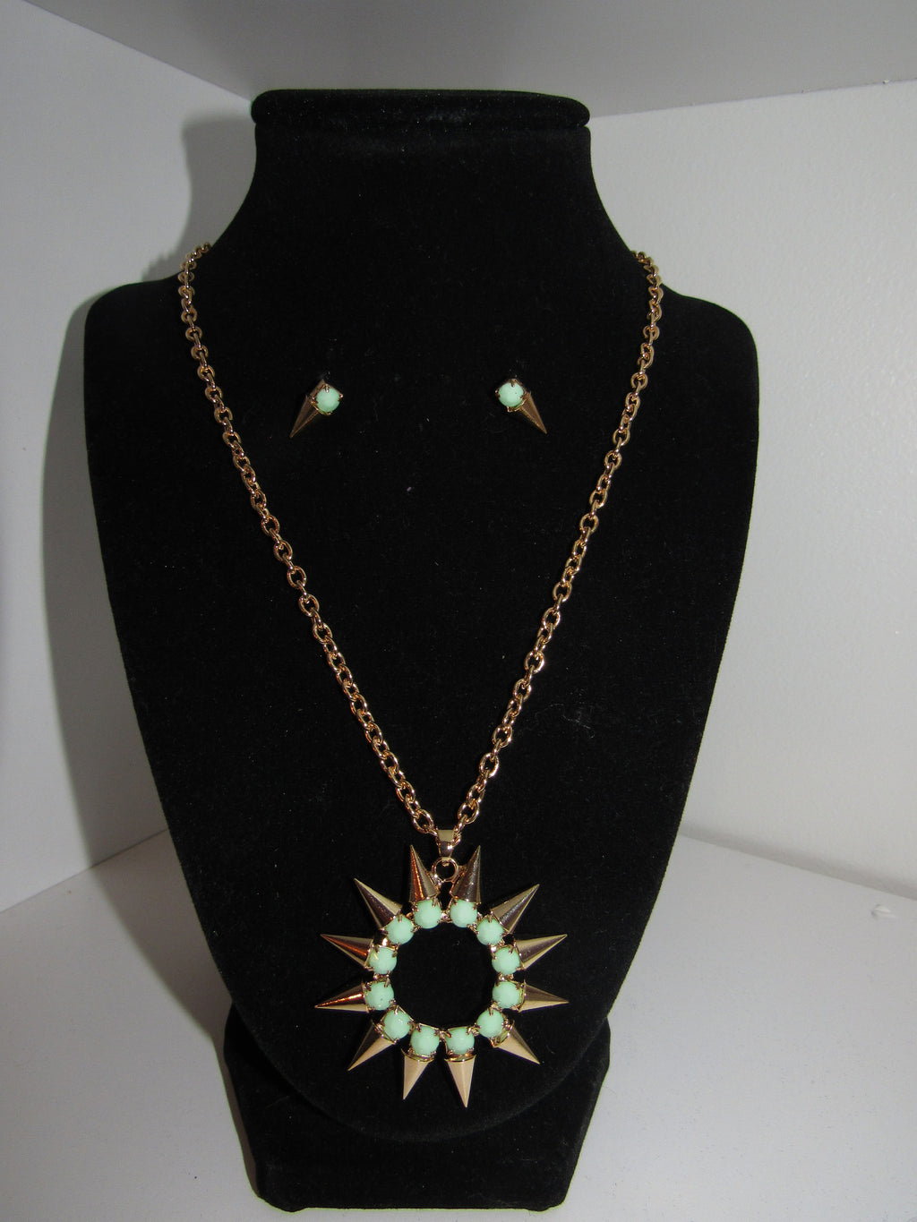 Spiked Punch Necklace/ Earring Set - Teal