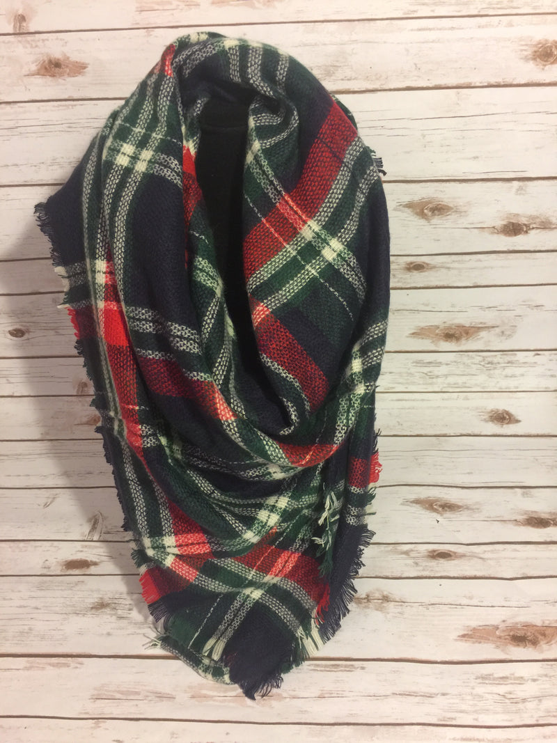 Blanket Scarf- Navy/green/white/red