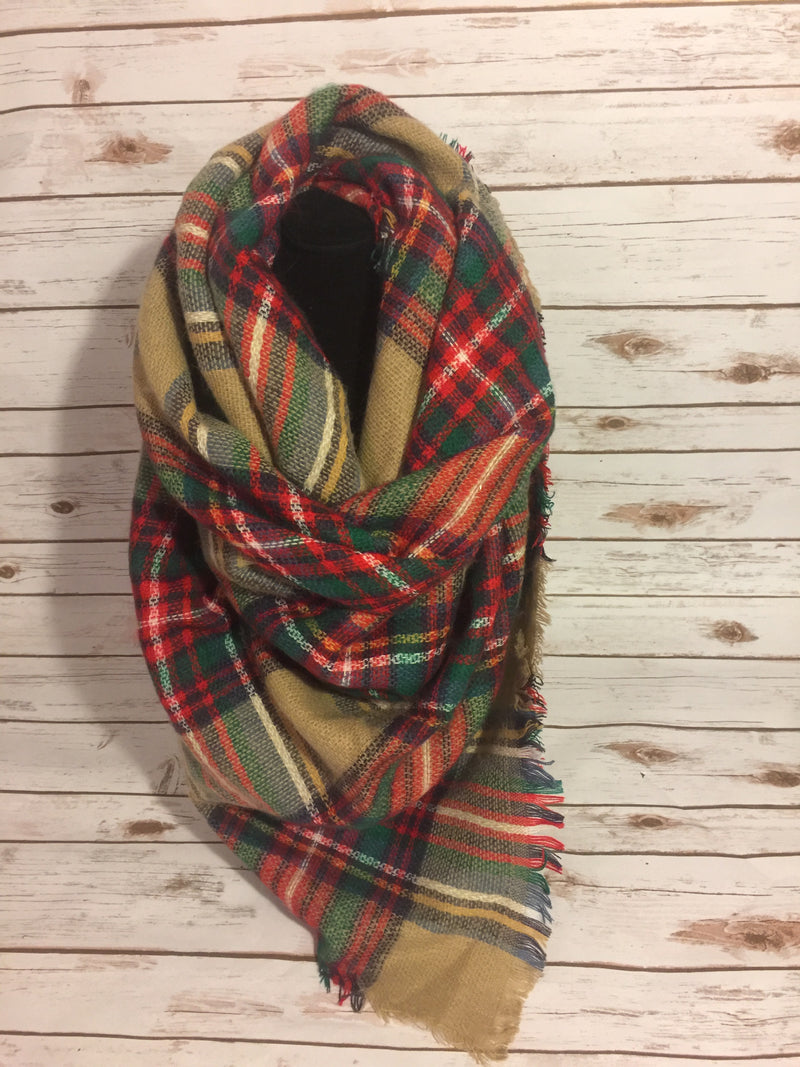 Blank Scarf - camel, red, white, green, blue and yellow.