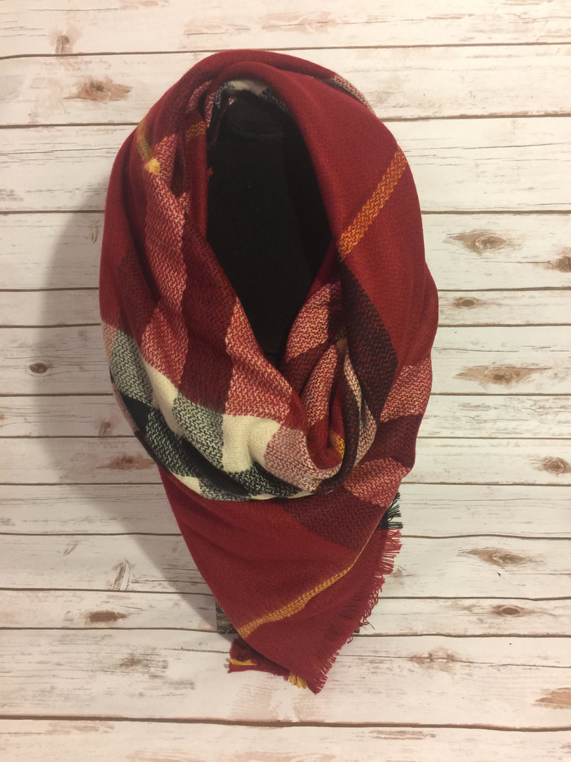 Blanket Scarf -red, white, black, and yellow