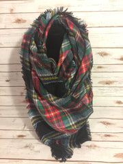 Blanket Scarf - navy, red, yellow, green, and white
