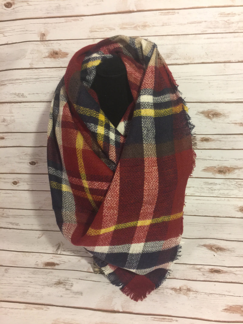 Blanket Scarf - red, navy, yellow, and white