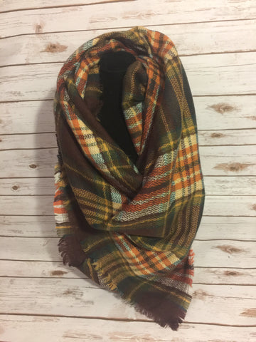 Blanket Scarf - brown, orange, yellow, and white