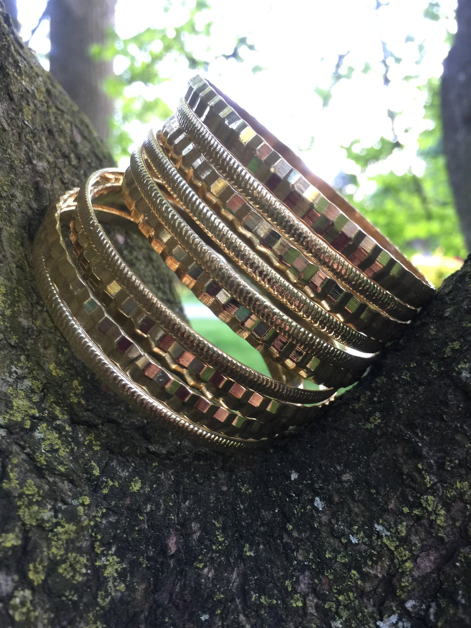 Dressed in Gold Bangle Bracelets