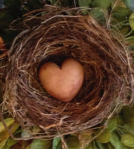 Carved Wooden Heart in a Birds Nest