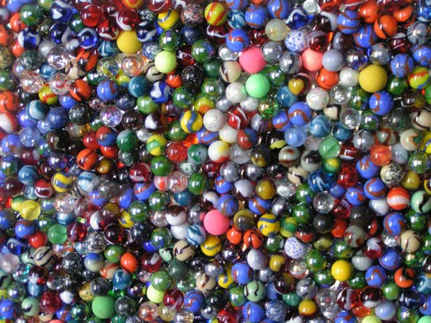 A wall of Marbles at the Toy Boat