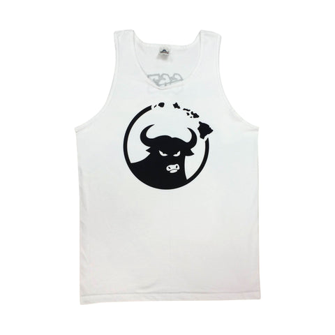 662 Hawaiian Islands Bull White/Black Tank Top