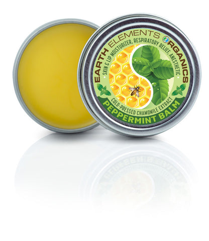 Earth Elements Organics Nausea and Respiratory Relief, Cold Pressed Chamomile, Peppermint Essential Oil Blend Beeswax Balm, Natural Cold Fighter Anesthetic, 1 oz.