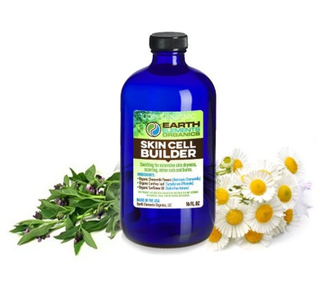 Earth Elements Organics - Soothing, Skin Cell Building Blend - RAW, Fresh, Pure, Cold-Pressed Comfrey & Chamomile - 100% Certified Organic & Non-GMO - 4 fl. Oz / 118.3ml - MADE in the USA