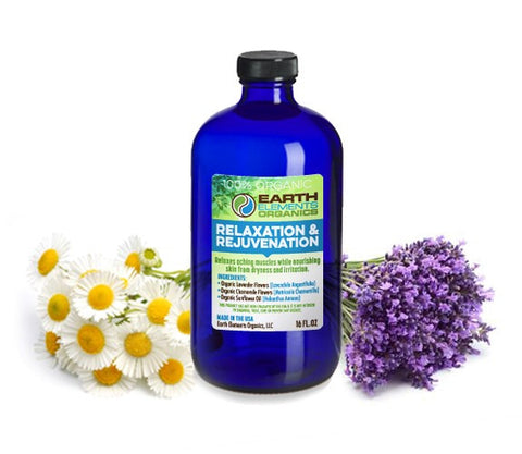 Earth Elements Organics - Relaxation & Rejuvenation After Shower Blend - RAW, Fresh, Pure, Cold-Pressed Lavender & Chamomile - 100% Certified Organic & Non-GMO - 4 fl. Oz / 118.3ml - MADE in the USA