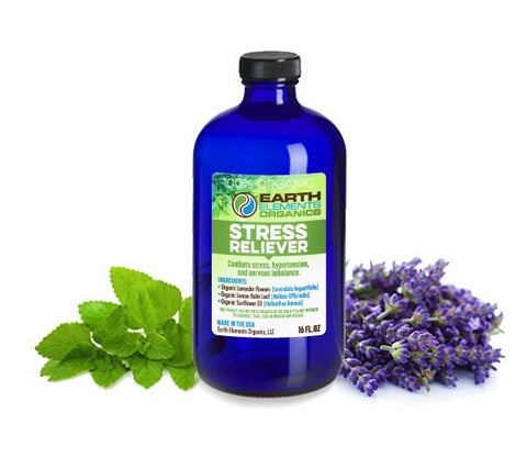 Earth Elements Organics - Calming Stress Relief - RAW, Fresh, Pure, Cold-Pressed Lavender & Lemon Balm - Lower Blood Pressure - 100% Certified Organic & Non-GMO - 4 fl. Oz / 118.3ml - MADE in the USA