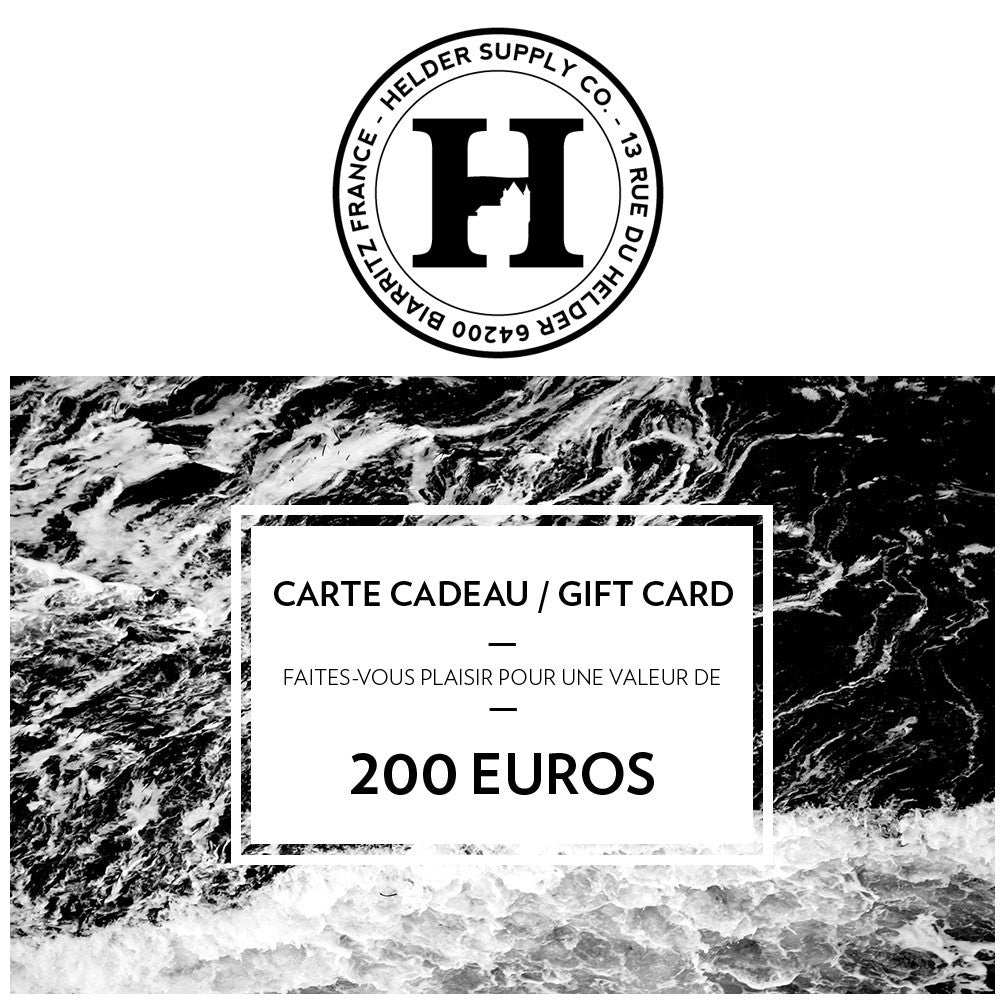 Helder Supply - Carte Cadeau / Gift Card - 200 EUROS
